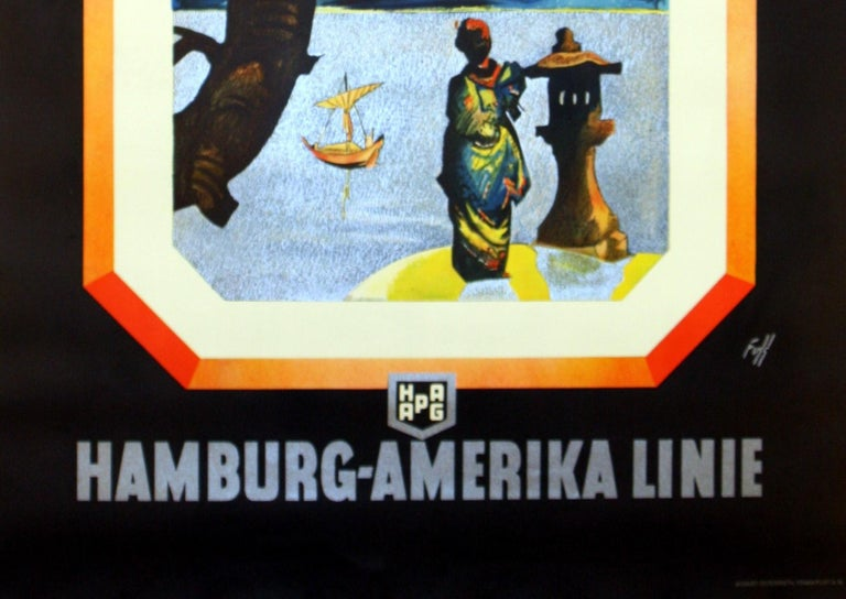 Original vintage travel advertising poster for cruises To the Far East by Hamburg-Amerika Linie Hapag Hamburg America Line (now Hapag-Lloyd), most likely sailing to Japan, China, Hong Kong and other countries in the Orient. Stunning Art Deco style