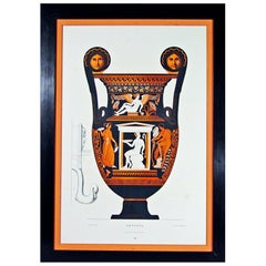 Albert Genick, a Lithographic Print of an Ancient Greek Vase, an Amphora