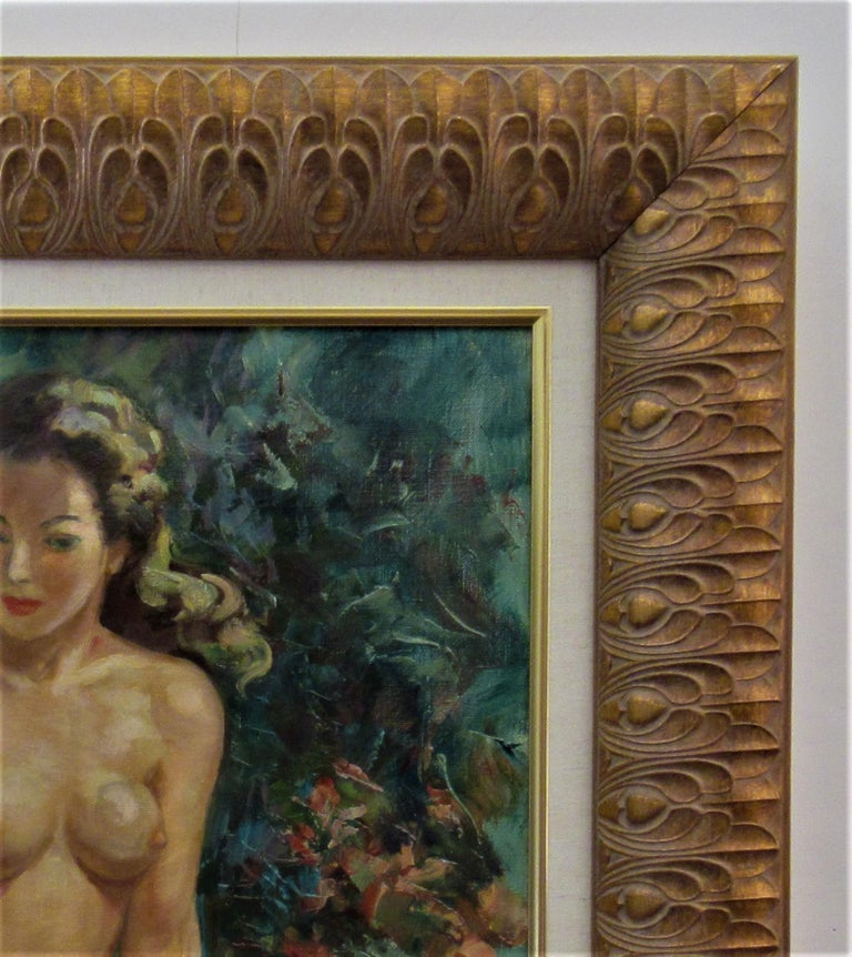 Artist:   Albert Genta (French, 1901-1989) Title:   Nude Year:   Circa 1950 Medium:Oil on canvas Canvas size: 21.75 x 18.25 inches Framed size: 29.5 x 26 inches Signature:   Signed lower right by the artist Condition:   Very good Frame:Framed in