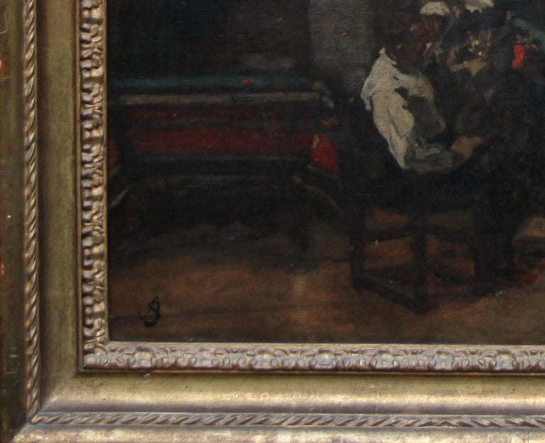 Self Portrait in Studio - British art 19thC Staithes School oil painting  For Sale 4