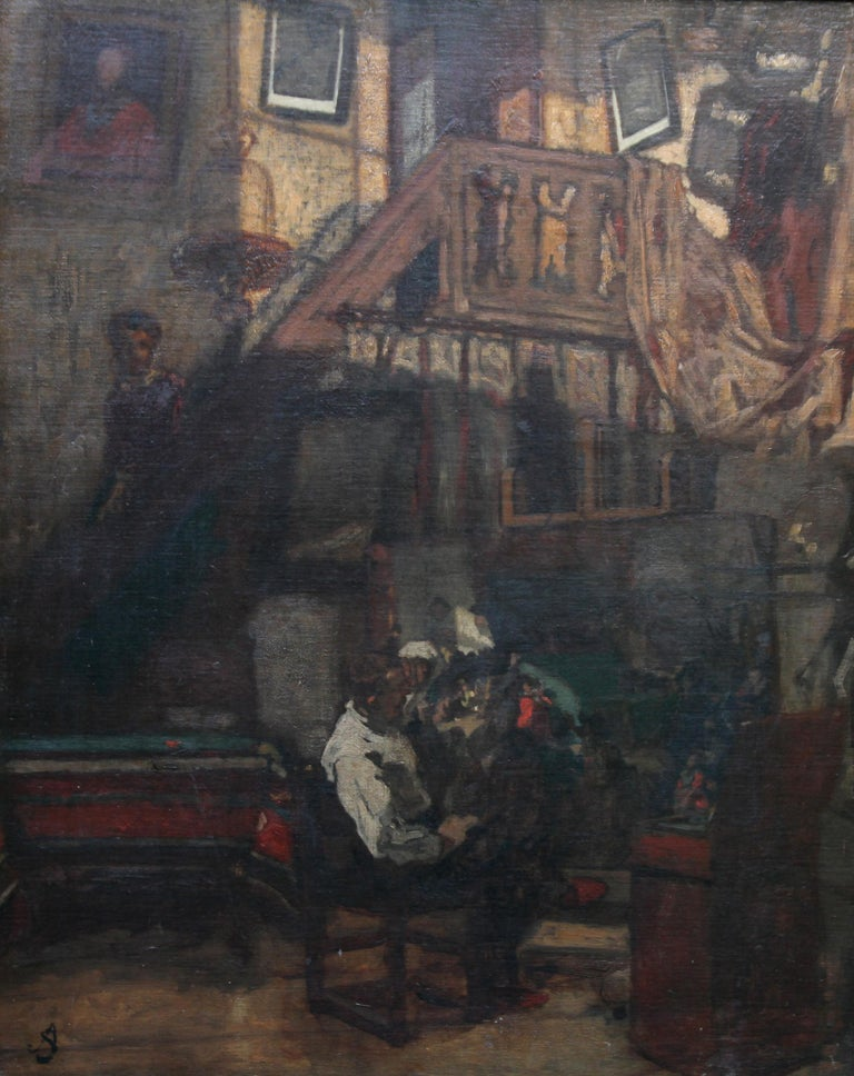 Self Portrait in Studio - British art 19thC Staithes School oil painting  For Sale 5