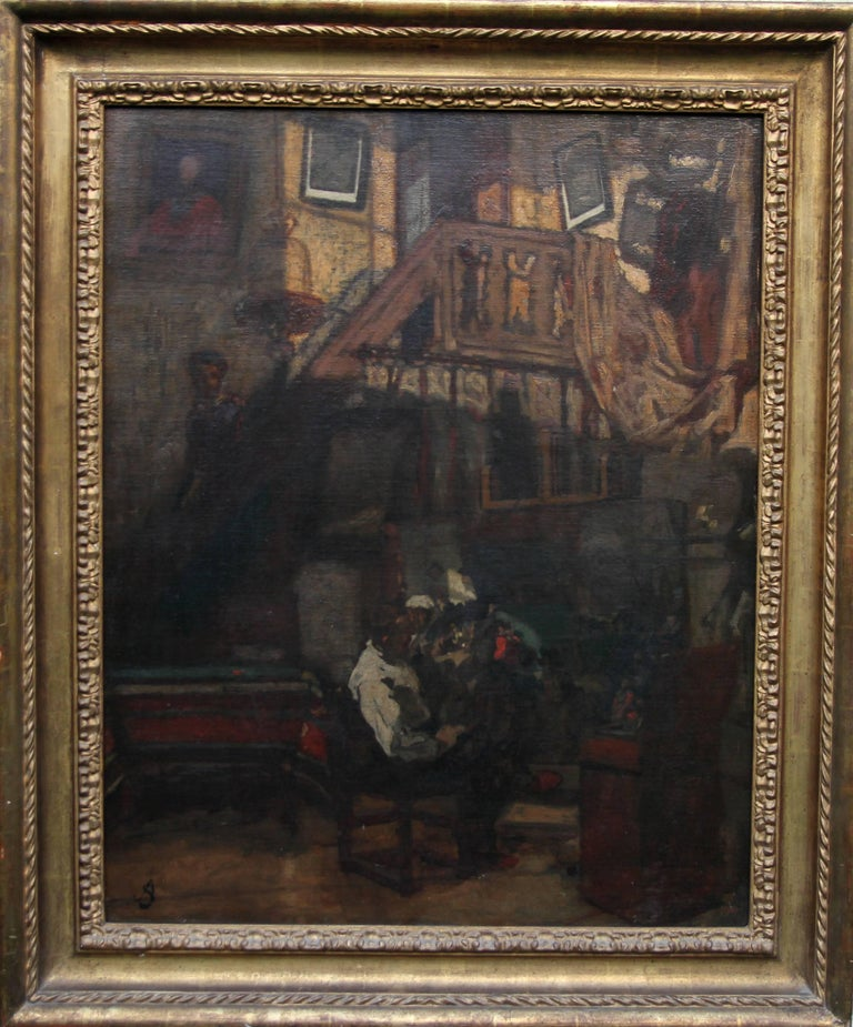A fine oil on canvas which dates to circa 1870 by listed artist Albert Stevens. It is a superb British Impressionist painting which depicts the artist in his studio in front of a painting he is working on. Signed lower left. Provenance. Sotheby.