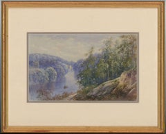 Albert Goodwin - Monogrammed 1894 Framed English Watercolour, Rowing Down River