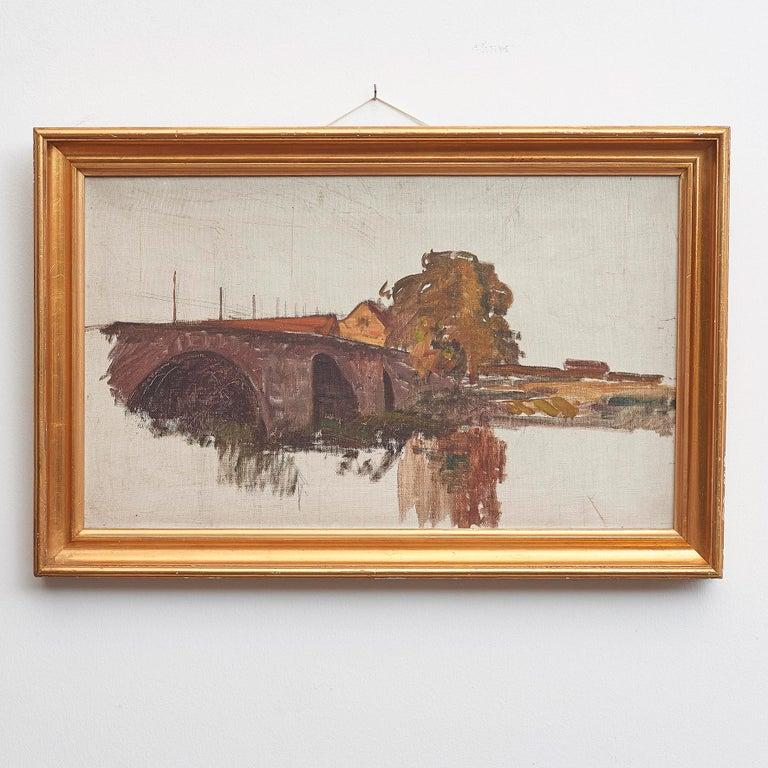 Albert Gottschalk - 1866-1906. Sketch / preliminary drawing. Landscape, 'Bro over å' (Bridge over river). Oil on canvas. Unsigned. Registered in
