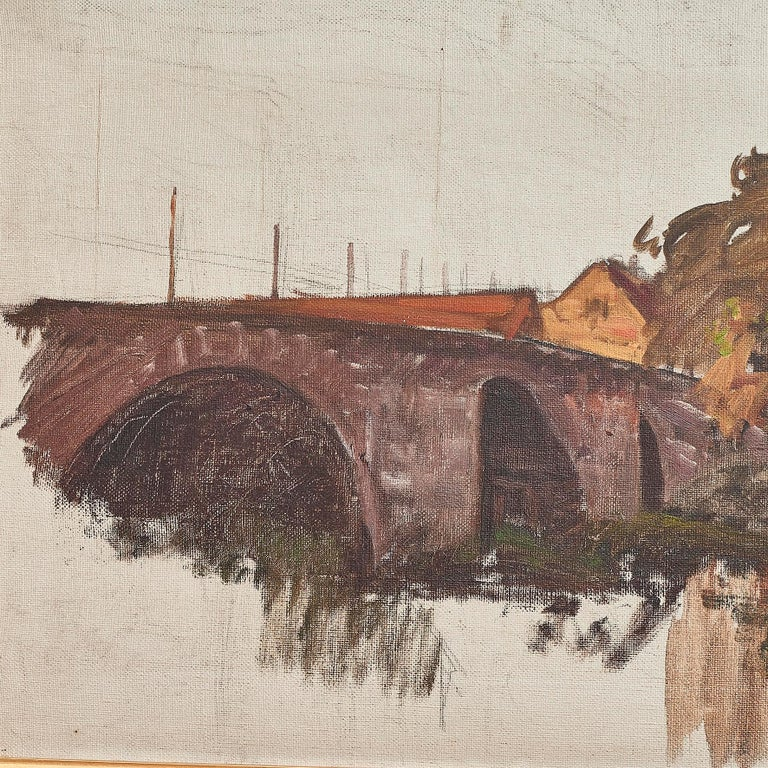 Other Albert Gottschalk, Sketch / Preliminary Drawing of Bridge over a River For Sale