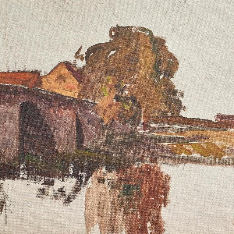 Danish Albert Gottschalk, Sketch / Preliminary Drawing of Bridge over a River For Sale