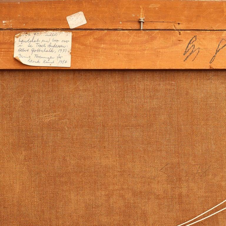 19th Century Albert Gottschalk, Sketch / Preliminary Drawing of Bridge over a River For Sale