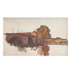 Albert Gottschalk, Sketch / Preliminary Drawing of Bridge over a River