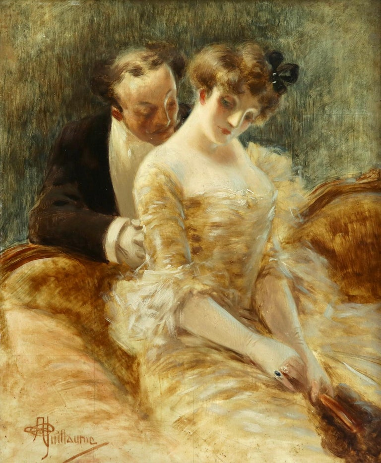 Manoeuvre de Seduction - Belle Epoque Impressionist Oil by Albert Guillaume For Sale 1