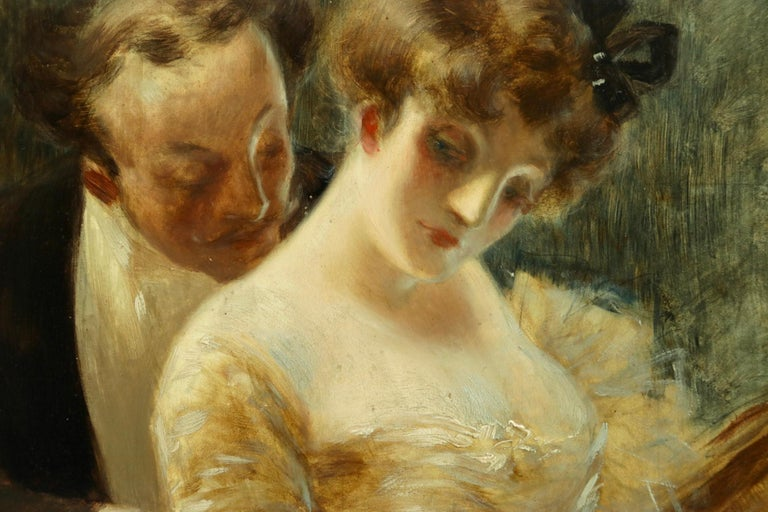 Manoeuvre de Seduction - Belle Epoque Impressionist Oil by Albert Guillaume For Sale 2