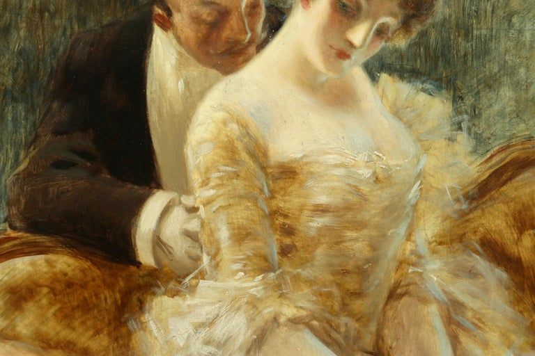 Manoeuvre de Seduction - Belle Epoque Impressionist Oil by Albert Guillaume For Sale 4