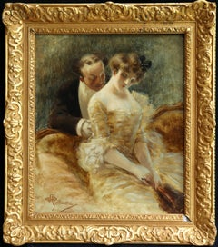 Manoeuvre de Seduction - Belle Epoque Impressionist Oil by Albert Guillaume