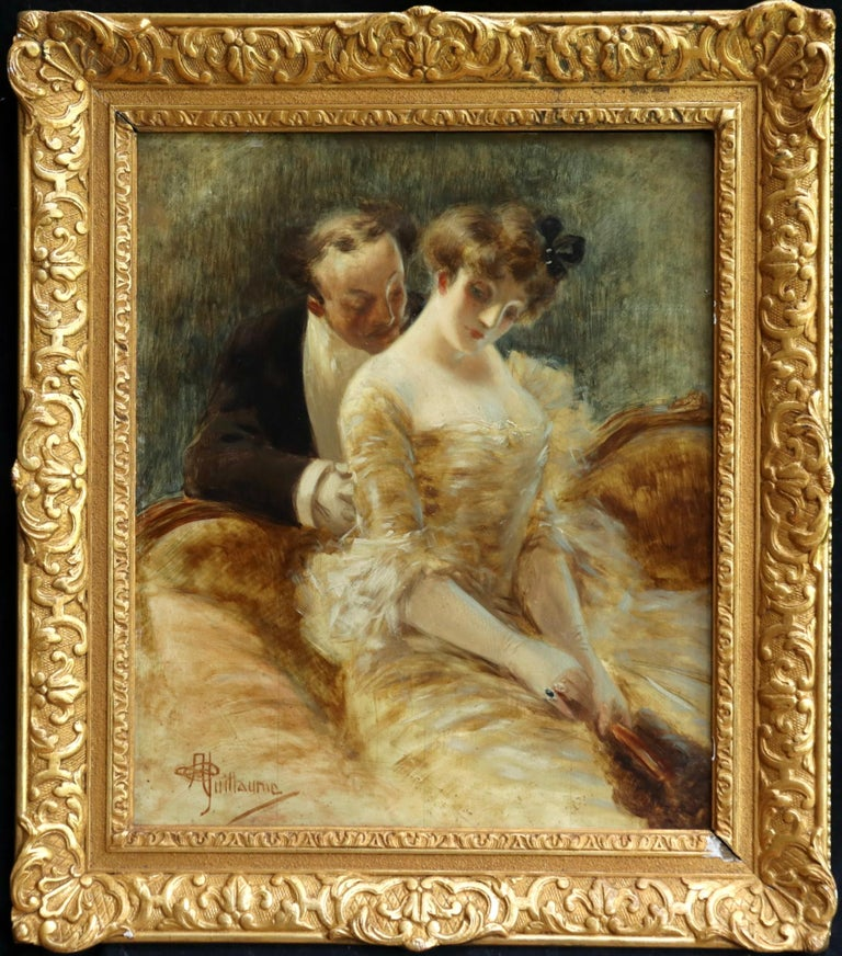 A superb belle époque oil on panel circa 1900 by Albert Guillaume depicting two lovers in an interior. The exquisite expressions on each of the figures faces each tells a story of what is evolving between them. The artists work is highly sought