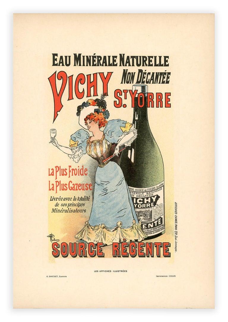 Eau Minérale Naturelle Vichy by Albert Guillaume, Belle Epoque lithograph, 1896 For Sale 1