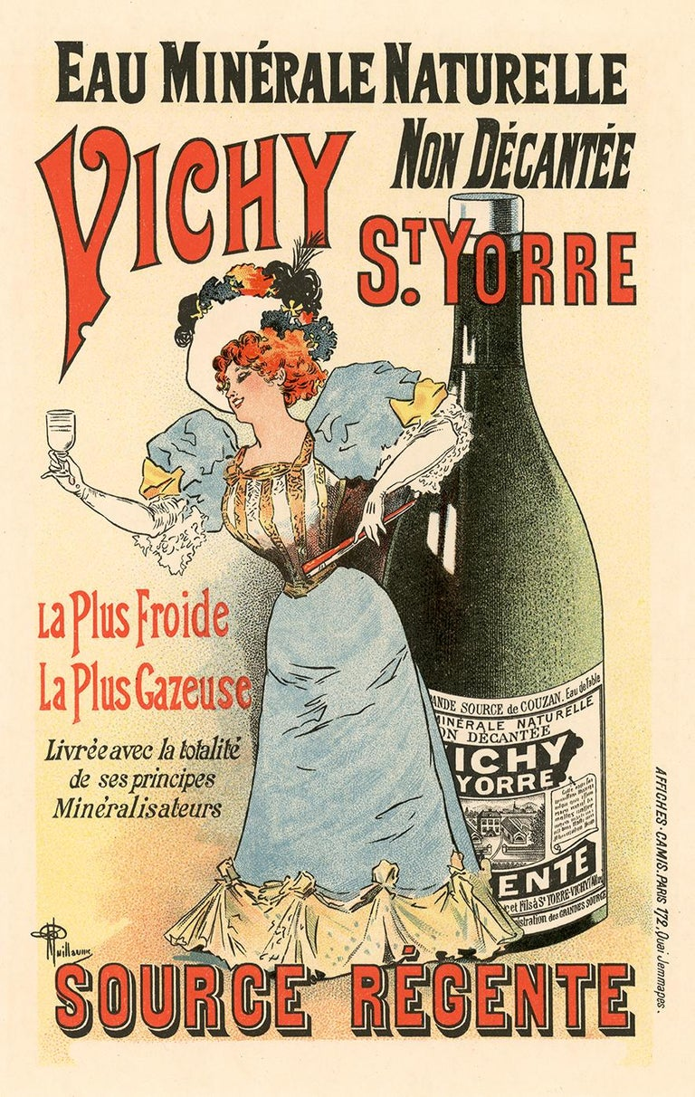 """An elegant woman in a blue Victorian dress toasts with a glass of """"the coldest"""" and """"most carbonated"""" sparkling water from Vichy, France. In early advertising, artists commonly used a redhead as an example of modern-thinking behavior.  While this"""