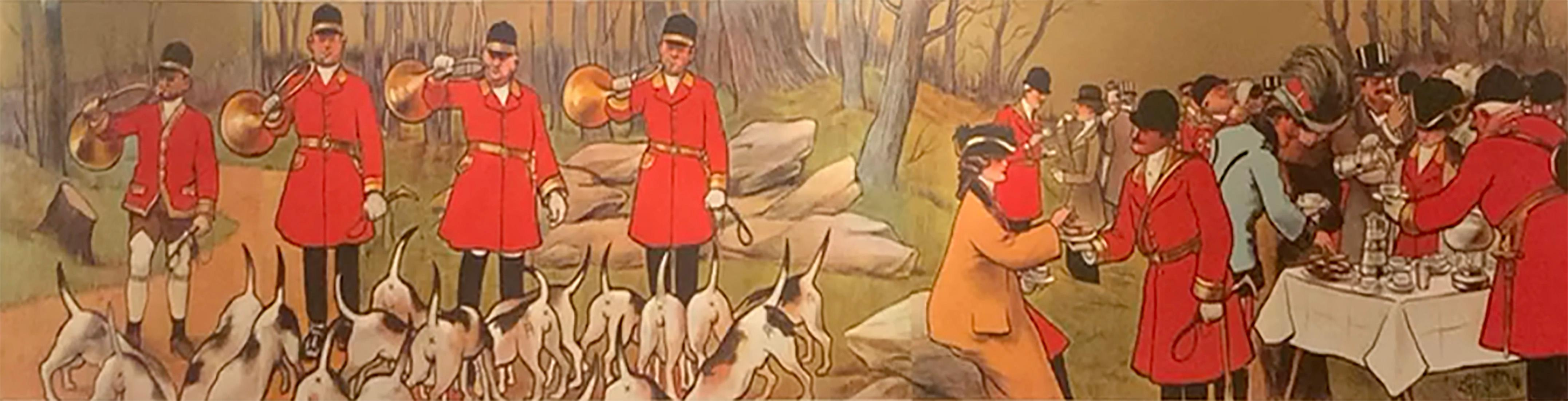 """Original Antique French Poster, """"Hunting w Hounds"""", Albert Guillaume, Lithograph"""