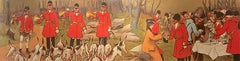 "Original Antique French Poster, ""Hunting w Hounds"", Albert Guillaume, Lithograph"