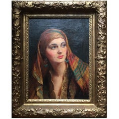 Albert Henry Collings (1868-1947) oil on canvas 'Yasmin in gypsy headscarf'