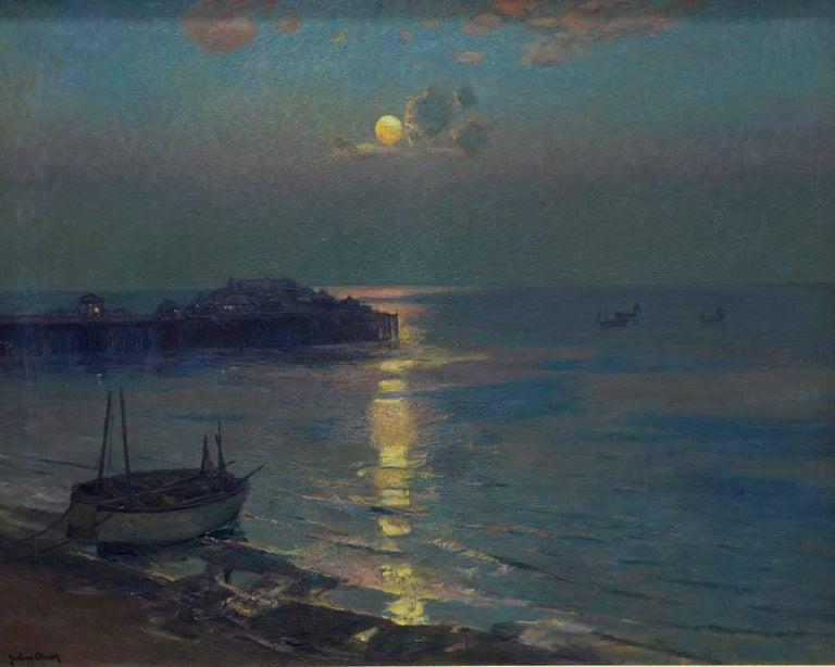 Brighton Pier - British Impressionist art 20's exhibited marine oil seascape - Painting by Albert Julius Olsson