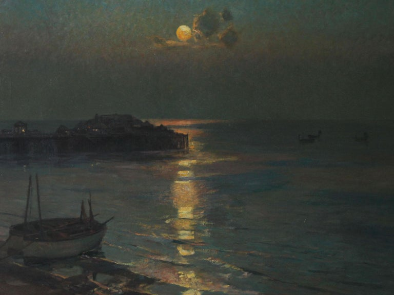 A superb oil on canvas which dates to 1927 by British artist Julius Olsson, RA.  It is a fine evocative marine seascape of Brighton Pier as it was before it was destroyed. A stunning nocturne of a bygone era, the moonlight on the water is just