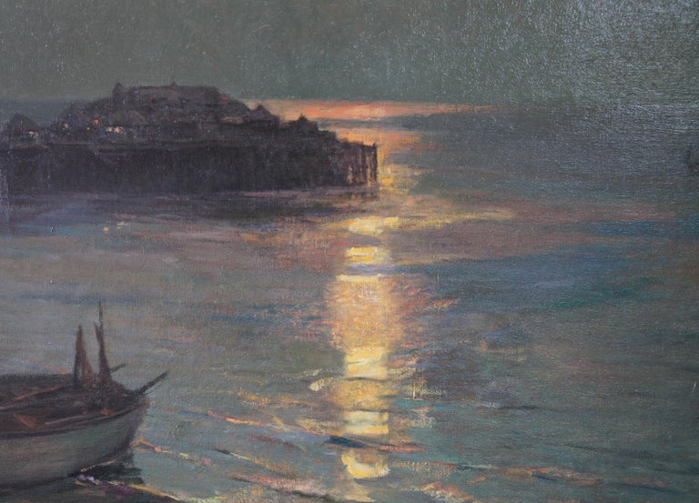 A fine oil on canvas which dates to 1927 by British artist Julius Olsson, RA.  It is a fine evocative marine seascape of Brighton Pier as it was before it was destroyed. A stunning nocturne of a bygone era, the moonlight on the water is just