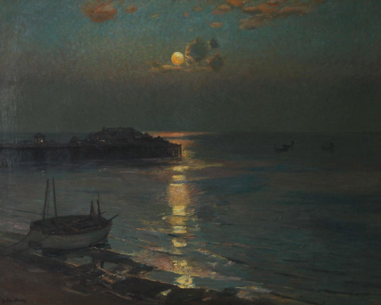 Brighton Pier - British Impressionist art 20's exhibited marine oil seascape For Sale 3