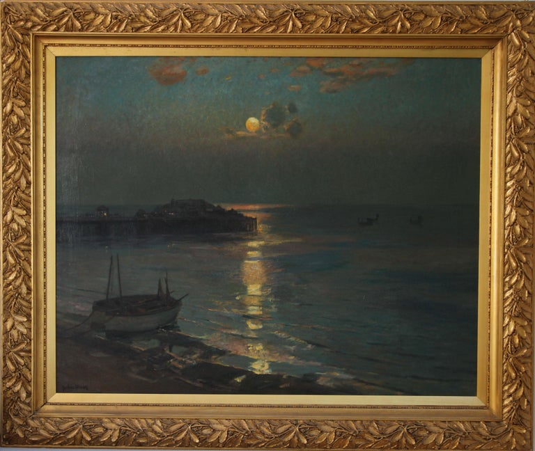 Brighton Pier - British Impressionist art 20's exhibited marine oil seascape For Sale 4