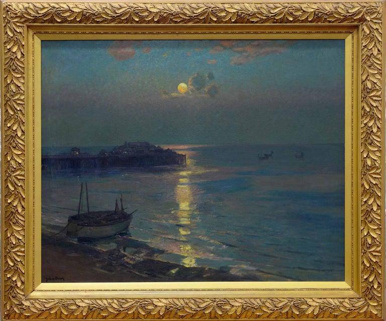 Albert Julius Olsson Landscape Painting - Brighton Pier - British Impressionist art 20's exhibited marine oil seascape