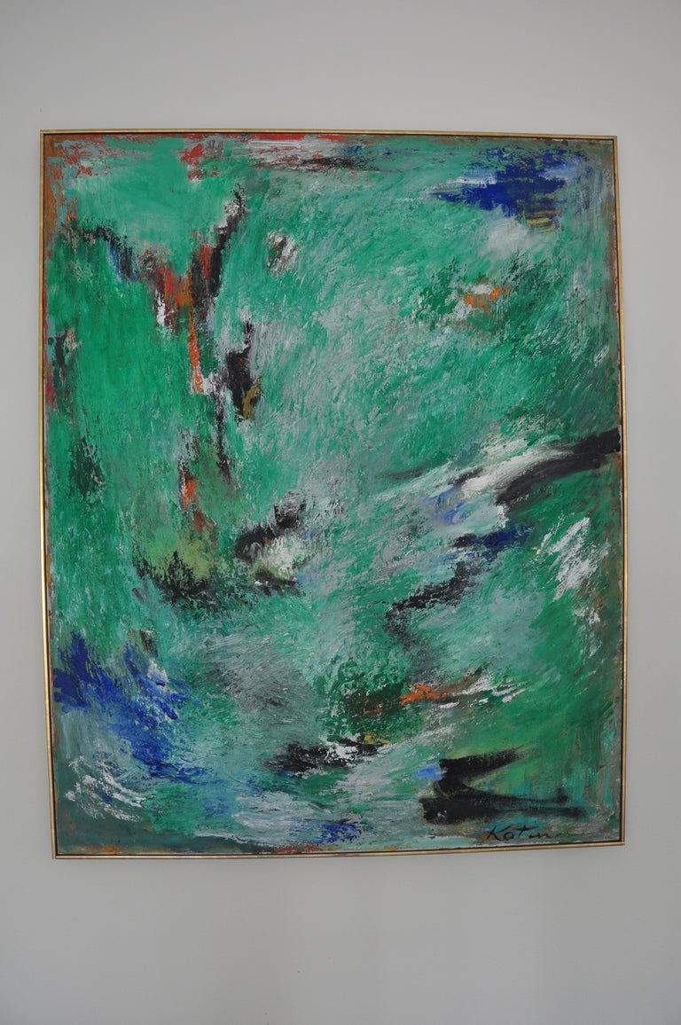 Albert Kotin piece. Oil on Canvas dimensions 38 x 50  Immigrating to the US from Russia in 1908, Kotin belonged to the early generation of New York  Abstract Expressionist artists. His pioneering  artistic innovation by the 1950s has been recognized