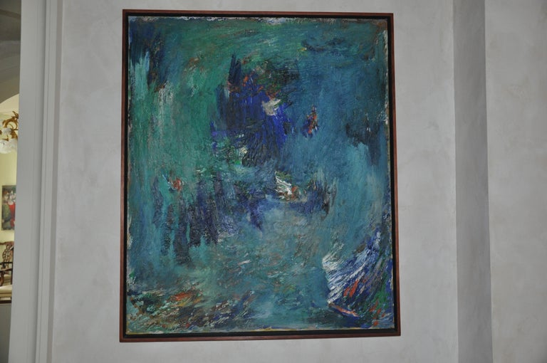 Abstract piece by Albert Kotin. Oil on Canvas dimensions 36 x 30. Framed dimensions 37 x 31  Immigrating to the US from Russia in 1908, Kotin belonged to the early generation of New York  Abstract Expressionist artists. His pioneering  artistic