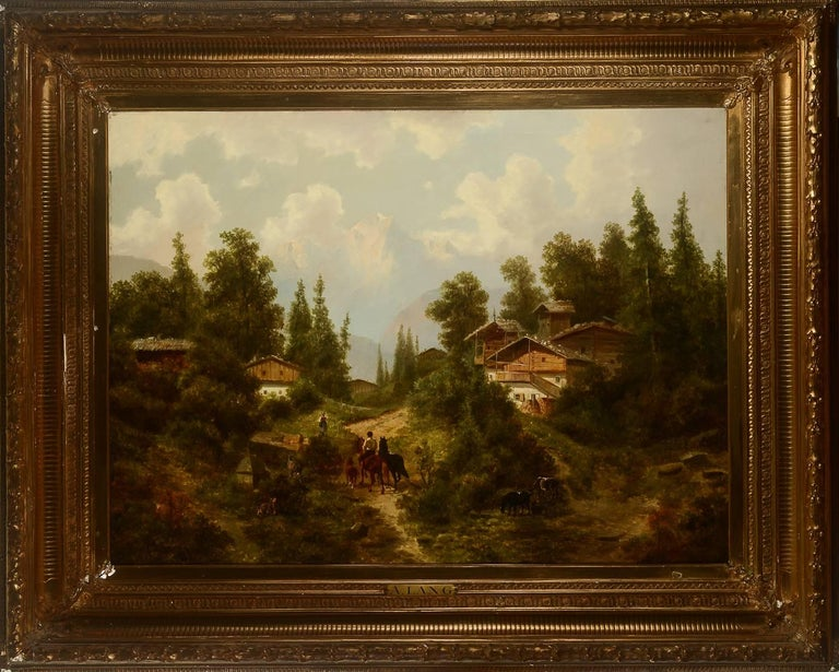 Albert Lang 1847-1933. Southern European landscape with houses, forest, riders and animals. Oil on canvas signed A. Lang. Measures: 74 x 100 (107 x 134) cm.