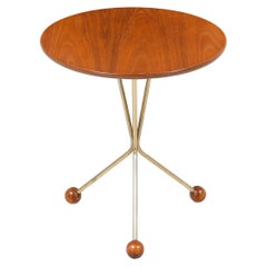 Albert Larsson Brass and Teak Tripod Side Table for Alberts Tibro