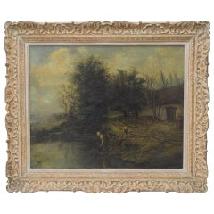 Albert Lenfant 'French, 19th c.' Country Landscape with Figures Oil Painting