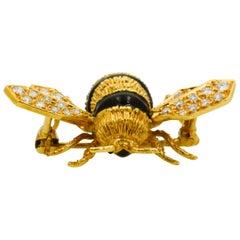 Albert Lipten 18 Karat Yellow Gold and Diamond Bee Pin