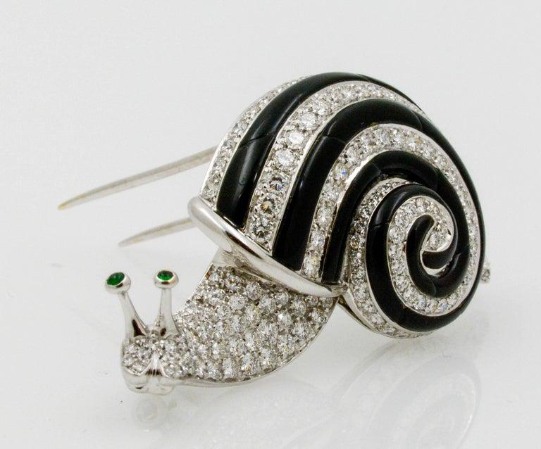 Albert Lipten 3.0 Carat Diamond 18 Karat White Gold Snail Brooch For Sale 1