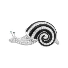Albert Lipten 3.0 CT Diamond 18K White Gold Snail Brooch
