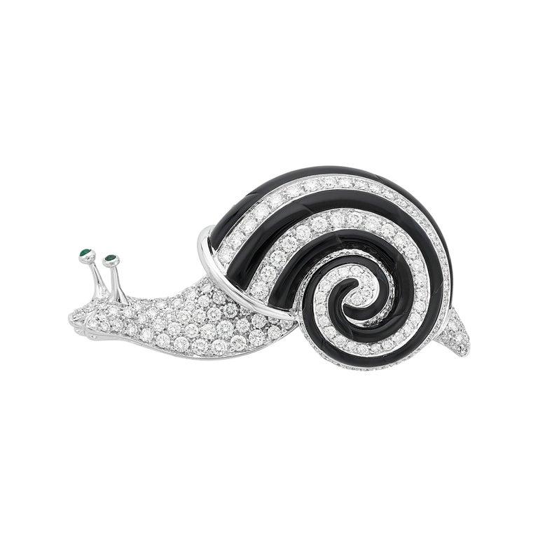 Albert Lipten 3.0 Carat Diamond 18 Karat White Gold Snail Brooch For Sale