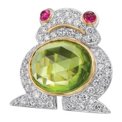 Albert Lipten 4.30 Carat Peridot  2.50 Carat Diamond Platinum Frog Brooch