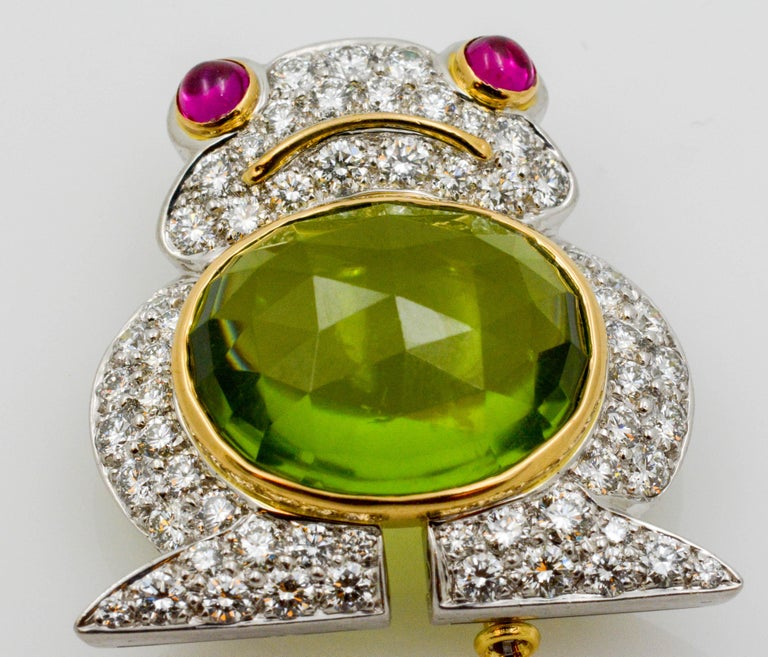 Modern Albert Lipten 4.30 Carat Peridot  2.50 Carat Diamond Platinum Frog Brooch For Sale