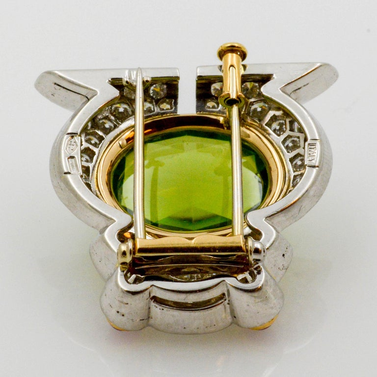 Oval Cut Albert Lipten 4.30 Carat Peridot  2.50 Carat Diamond Platinum Frog Brooch For Sale