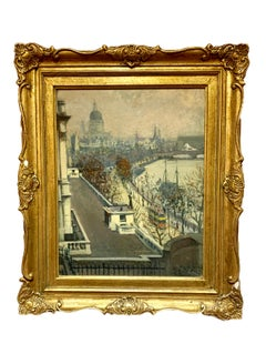 Framed Antique Albert Ludovici English Impressionist Thames River Painting