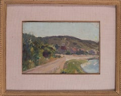 Small Impressionist landscape oil painting by Peruvian artist Albert Lynch