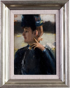 Small Impressionist painting, Lady in a hat,  by Peruvian artist Albert Lynch