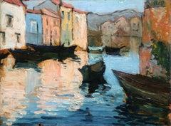 Canal a Venise - Fauvist Oil, Gondolas on Canal - Landscape by Albert Marquet