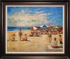 "Original Oil on Canvas ""At the Beach"" by Albert Marquez"