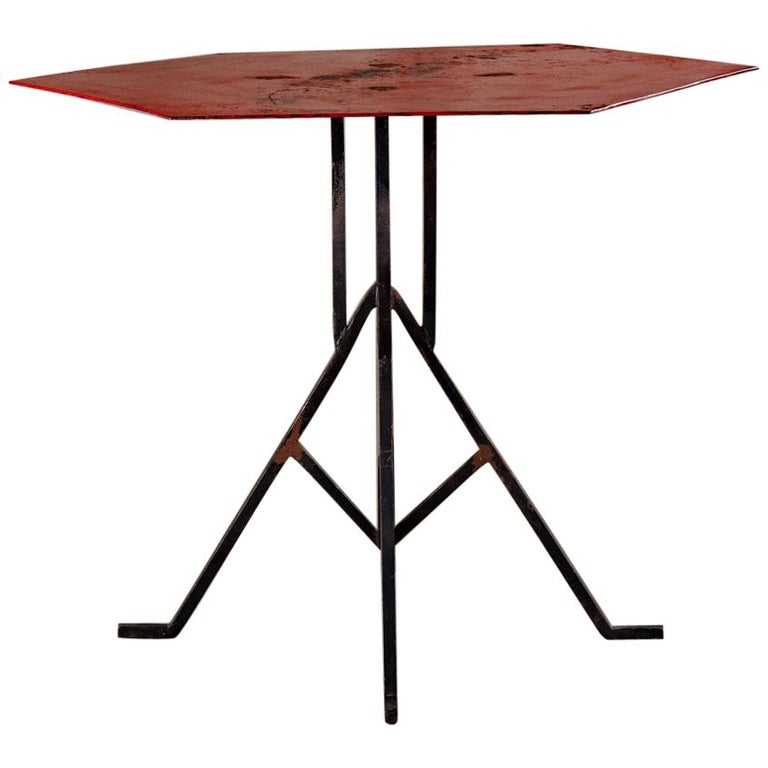 Albert McArthur Enameled Steel and Iron Side Table For Sale