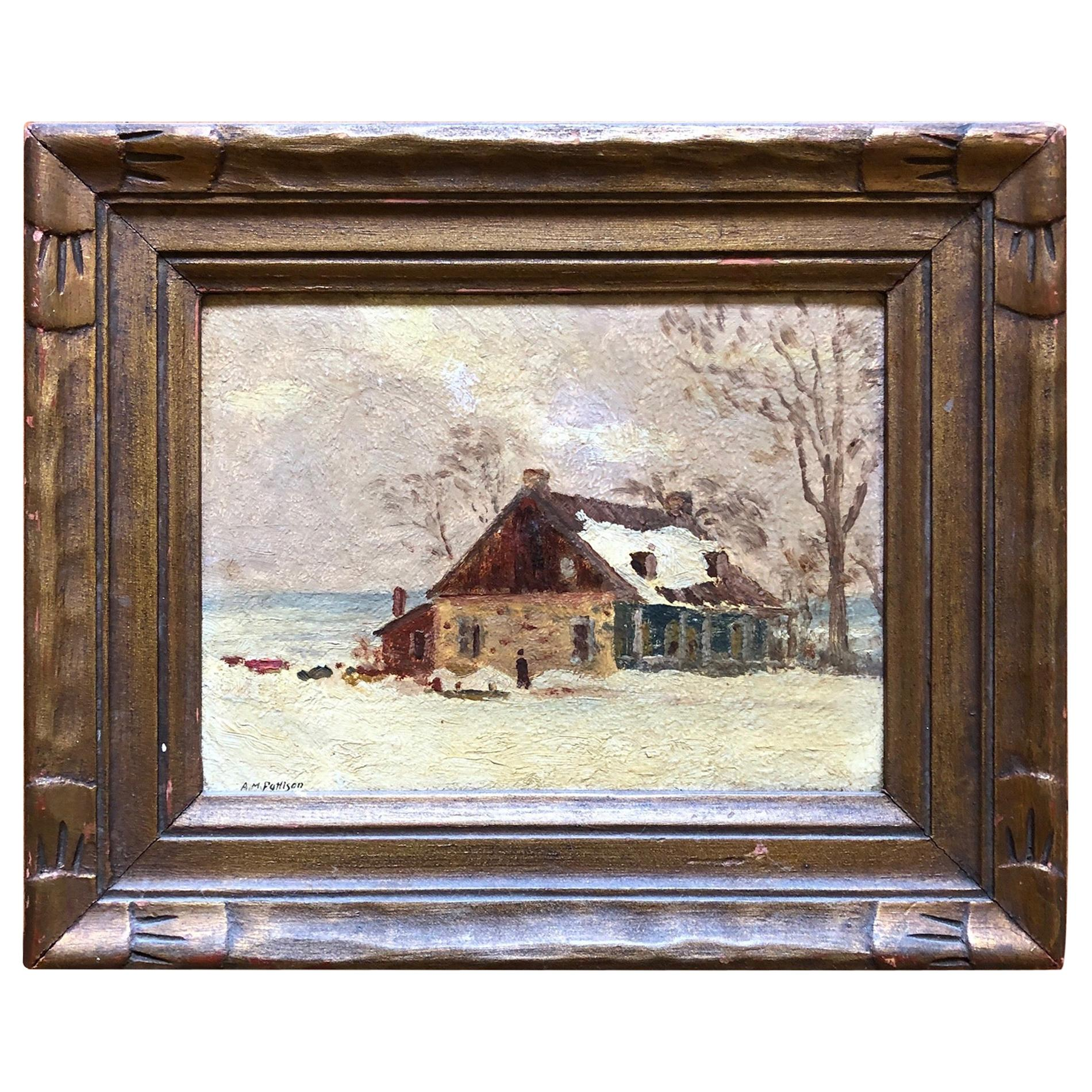 Albert Mead Pattison French Canadian Farmhouse Oil Painting