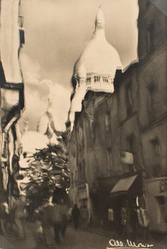 Montmartre, Paris  - Black and White Original Photograph Postcard