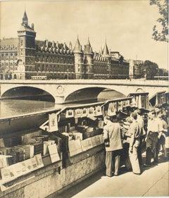 Paris, The Riverbank Booksellers  - Black & White Original Photography Postcard
