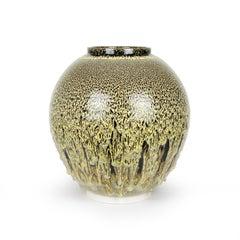 Albert Montserrat, Golden Jar, 2020, Oil Spot, Glazed Thrown Porcelain